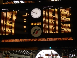 Arrival and Departure Board at Milan Central Railway Station - one of these must be our train!