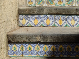 A detail of the ceramic tiles on the steps of Caltagirone