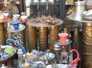 A market stall, including souvenirs made from military ordnance