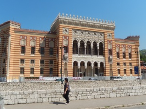 City hall being reconstructed in its original mixture of Baroque and Moorish style