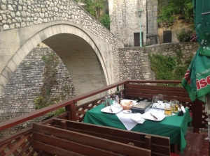 Dinner at the crooked bridge