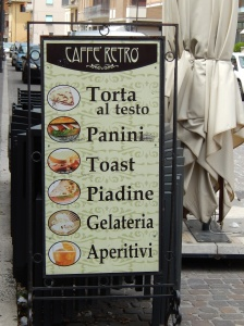 Typical street sign board advertising lunch and snacks