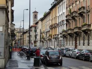 Street scene around Milan railway on a rainy morning