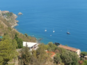 Overlooking a portion of Taormina coastline
