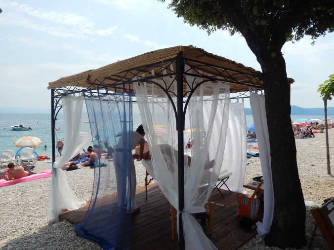Massage available at the beach at Mosenica Draga