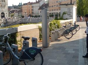 Bicycles for rent in Ljubljana street