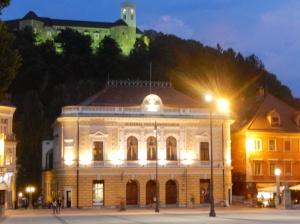 Night scene Ljubljana - Fortress in the Background