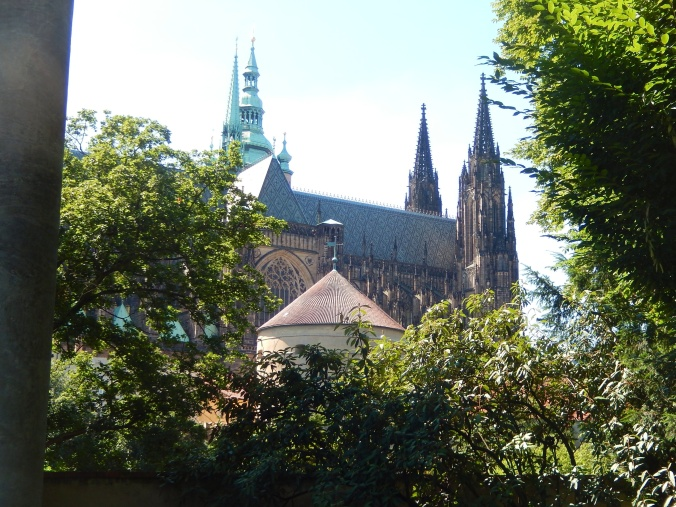 Approaching castle grounds - side view St Vitus cathedral