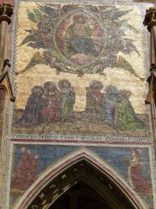 Gold mosaic, praying saints