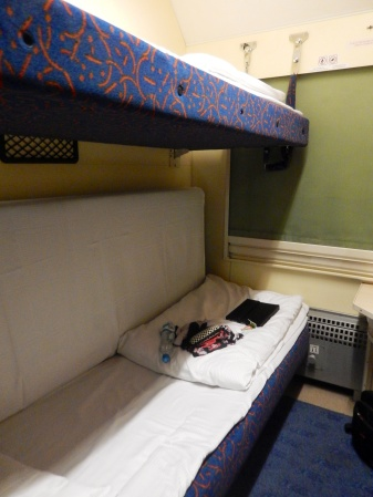 Our compartment ready for sleep - I took the top bunk