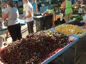 Fresh cherries in the market