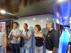 Some of the singers with our cruise director and a fellow cruiser