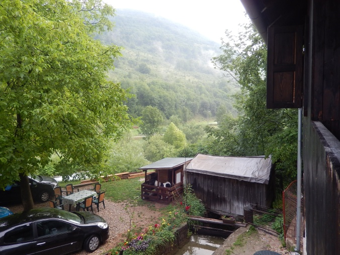 View from the verandah of our Plitvice Lakes accommodation
