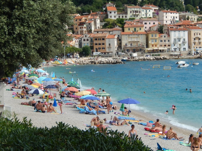 A beach in the region of Opatija