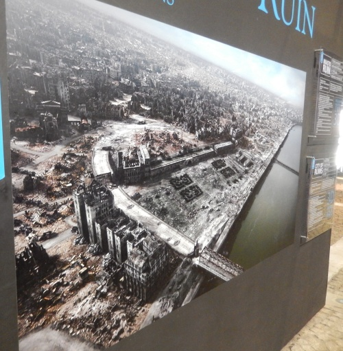An aerial shot of the destruction of Warsaw