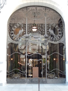 Gresham Hotel gated side entrance, external view