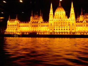 Budaoest Parliament House by night, left hand side