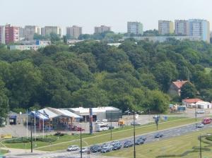 Communist era apartment blocks on the skyline