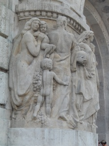 Sculpture relief on outside of baths