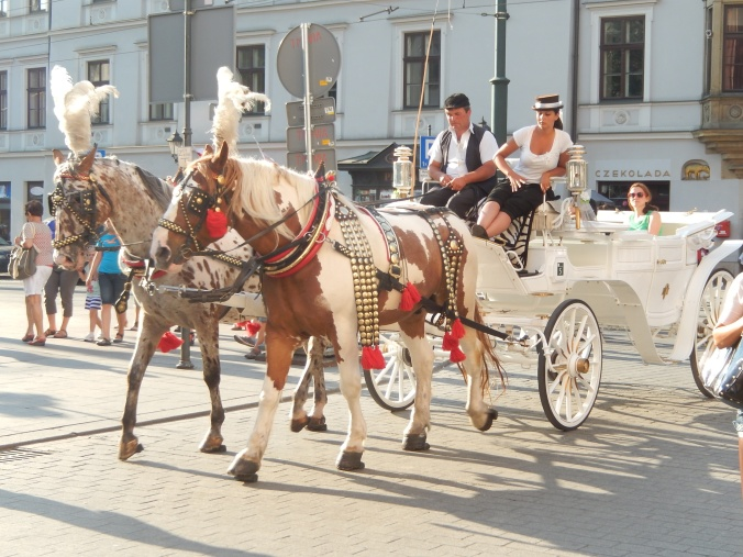 Horse and carriage, dressed up Krakow style