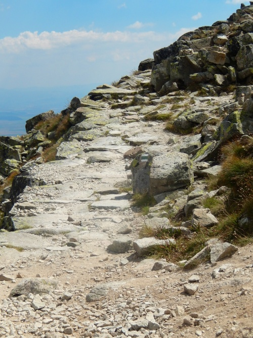 The beginning of the path across the mountain face