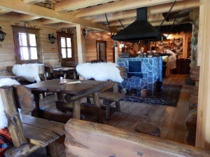 Inside the timber restaurant
