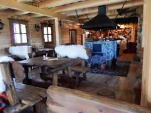 Inside the timber restaurant