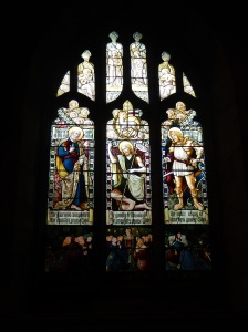One of the many stained glass windows
