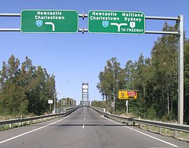 The Hexham Bridge connects Port Stephens to Newcastle  Source: Wikipedia  Author: C Goodwin