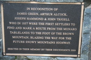 Snowy Mountains Highway Memorial Plaque