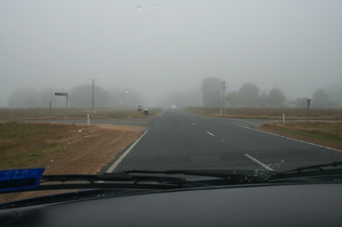 Leaving Corryong, still misty at 9.30am