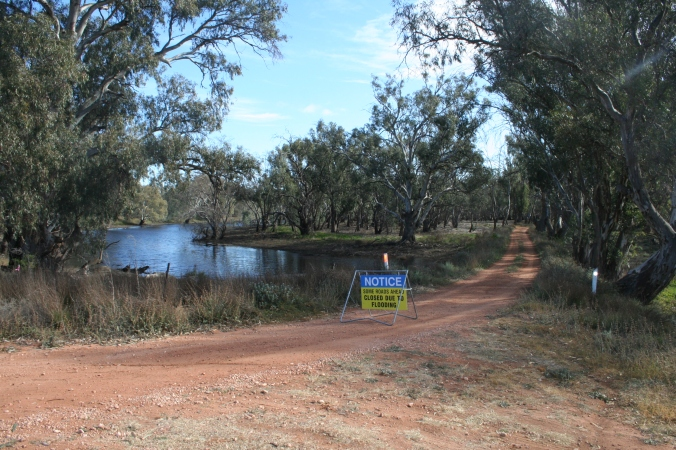Road closed due to flooding, Nyah area, near Swan Hill
