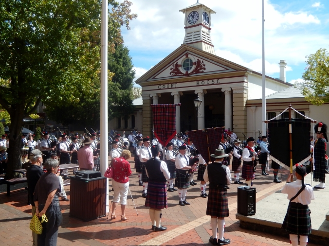 Massed Pipe Bands Outside Courthouse Armidale March 2014