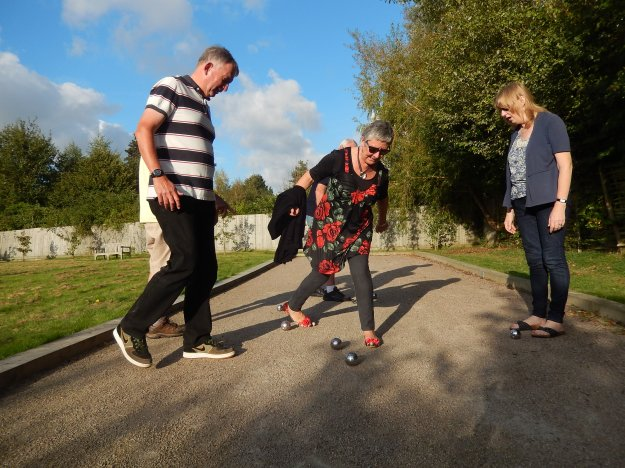 Playing Petanque (aka boules) with more of the English family, at Ickham, a country village in Kent