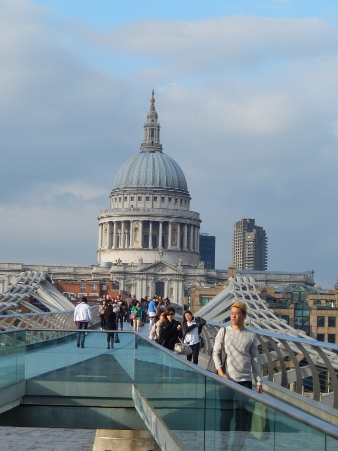 An unusual view of London St Paul's Cathedral as we walked across the Millenium Bridge