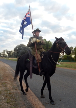 Light Horse with Australian Flag at Bogan Gate Anzac Day 2015