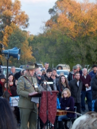 Major giving the address at Anzac Day 2015 Bogan Gate memorial service