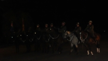 Trundle Light Horse Paraded in Pre-Dawn gloom Anzac Day 2015 at Bogan Gate