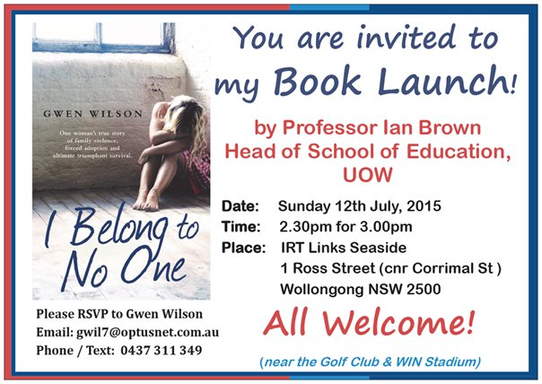 Invitation to the celebration of the launch of I Belong to No One