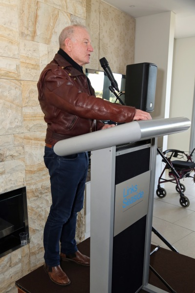 Lord Mayor of Wollongong, Gordon Bradbery, speaking at launch of I Belong to No One, photo courtesy Andrew Gray