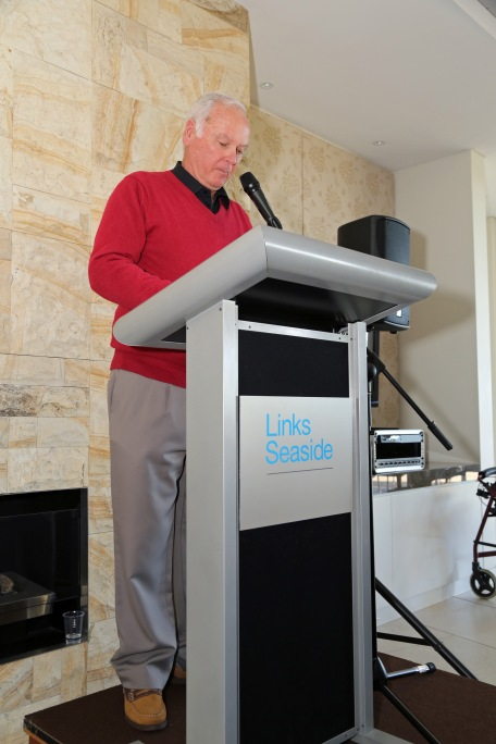 MC Extraordinaire, Bill Wilson, at launch of I Belong to No One, photo courtesy Andrew Gray
