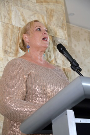 Lilly Hawkins, speaking at launch of I Belong to No One, photo courtesy Andrew Gray