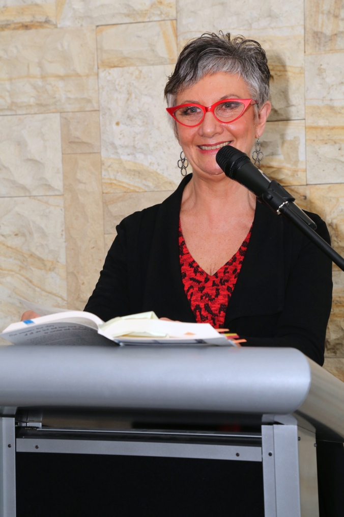 Gwen Wilson, speaking at launch of I Belong to No One, photo courtesy Andrew Gray