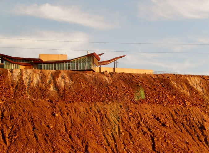 The Broken Hill railway station is overlooked by the miners' memorial at the top of the slag hill