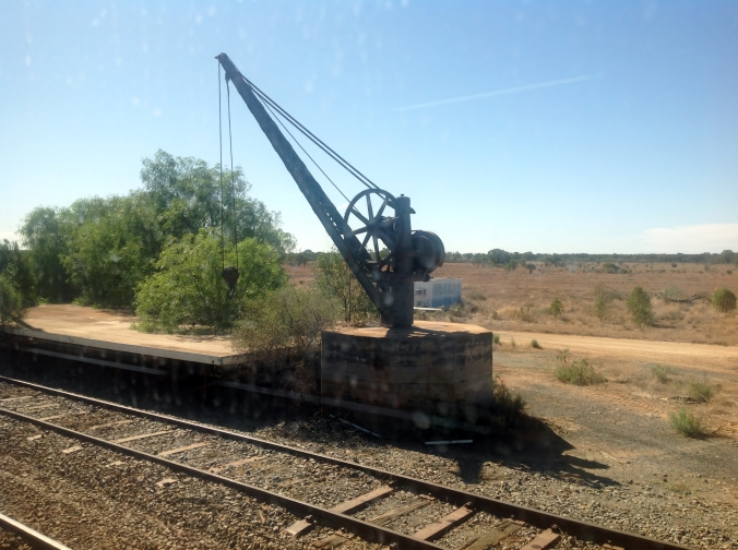 Loading crane at Ivanhoe Station NSW March 2016