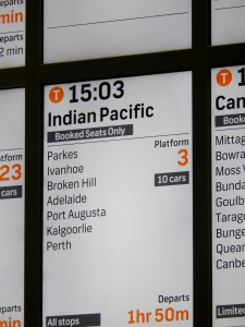 Departure Board Indian Pacific Sydney Central Rail Station