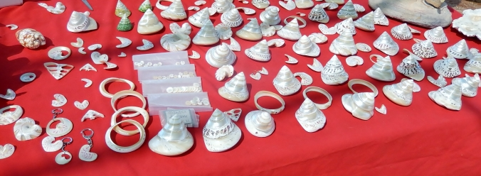 Trochus Shell jewellery for sale at One Arm Point, WA 2016-05-27