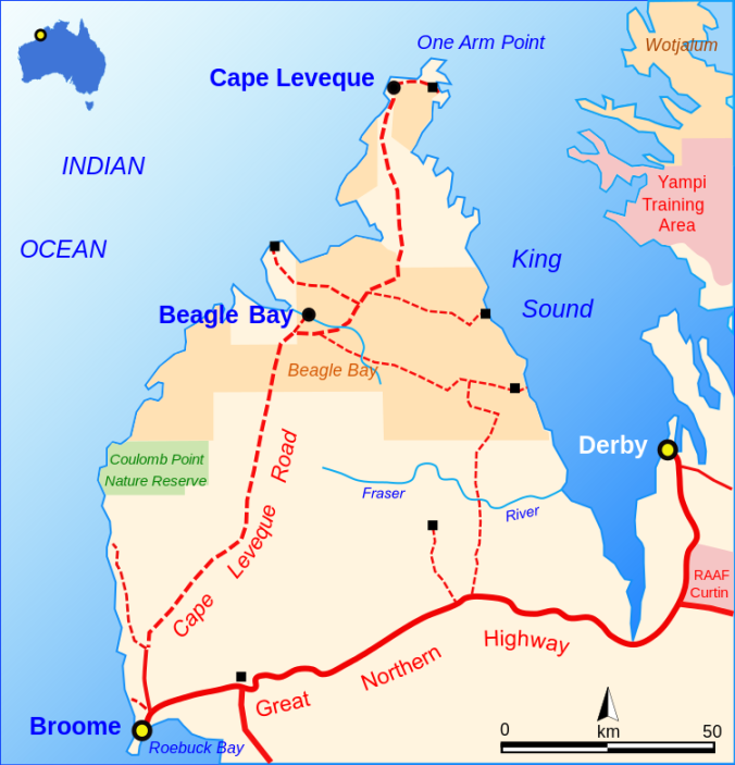 CAPE LEVEQUE ROAD By Summerdrought - Own work, CC BY-SA 4.0, https://commons.wikimedia.org/w/index.php?curid=48442127