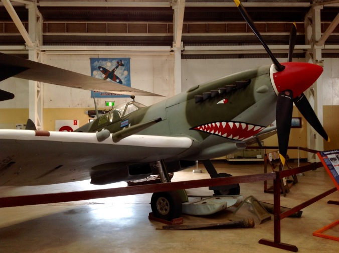Supermarine Spitfire Mk VIII (replica). During WWII Darwin was originally defended with Kittyhawks, then the Mk Vc Spitfire. This version was introduced in September 1944. The last recorded bombing raid on Darwin was 12 November 1943, but I imagine those posted in the region felt under constant threat until the final defeat of Japan.