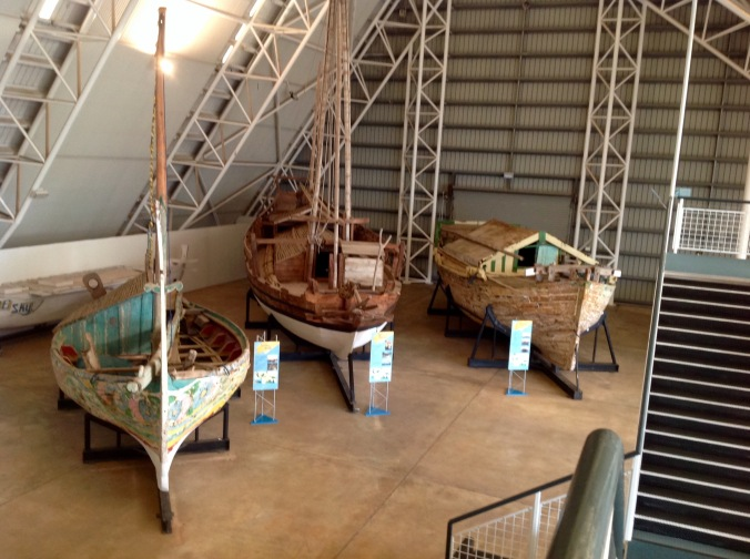 Various Asian fishing boats on display at the Museum & Art Gallery of the Northern Territory May 2016
